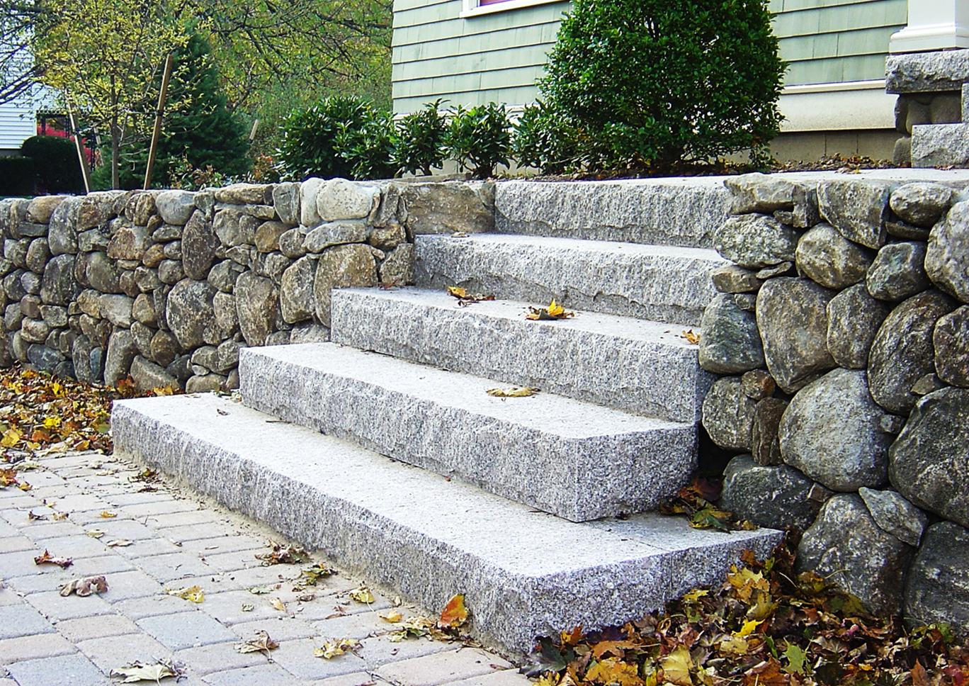 granite steps, Residential, Stone steps, Custom Stone fabrication, Gleason Ineson Stone Suppliers, G.I. Stone, GI Stone, New Hampshire stone, Massachusetts stone, Maine stone, Connecticut stone, Rhode Island stone, Vermont stone, New Hampshire granite, Massachusetts granite, Maine granite, Connecticut granite, Rhode Island granite, Vermont granite, Granite, Custom granite, Granite step, Stone, Stone patios, Stone driveway, Stone walkway, Natural stone, Concrete pavers, Building stone, Stone veneer, Wall stone, Veneer, Thin stone veneer, Retaining walls, Blue stone, Clay brick , Granite benches, Granite mantel, Granite post, Granite mailbox, Granite light post, Cobble stone, Cobbles, Granite edging, Granite hearths, Granite treads, Bluestone treads, Granite pavers, Pavers, River rock, Veneer, Natural stone flagging, New England field stone, Field stone, Round field stone, Granite pool coping, Bluestone pool coping, Outdoor stone fireplace, Stone fire pit, Indoor stone fireplace, Stone hearth, Granite hearth, Igneous rock, Concrete sand, Stone dust, ¾ crushed stone, 1 ½ crushed stone, Screened loam, Bark mulch Merrimack NH, Bark mulch Nashua NH, Bark mulch Bedford NH, Bark mulch NH, drafting services, Custom Stone fabrication,